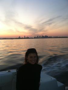 Sasha in front of the Boston skyline.