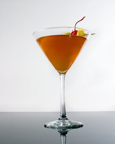 Monkey Gland Cocktail: 2 oz gin, 1 oz orange juice, 1/4 oz grenadine, 1 dash absinthe, Swirl a dash of absinthe in a chilled cocktail glass to coat it, then dump excess liqueur. Pour other ingredients into a cocktail shaker with ice cubes. Shake well.