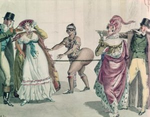 Baartman plays blind man's bluff at a party, titallatinng a group of paying French aristocrats.
