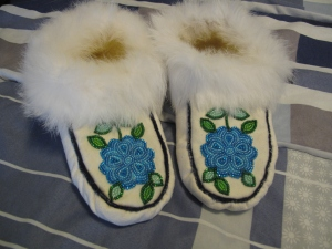 Moccasins made by Cookie Simpson of Fort Chipewyan. I bought them at the Bicentennial Museum gift shop. They smell like sweet grass.