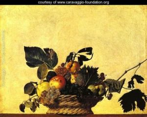 Not a good idea. Caravaggio, Basket of (tempting but rotten) Fruit, c.1599, 31 x 47 cm., Milan: Amborsiana.