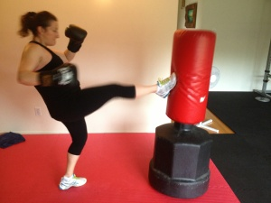 Blammo! That is what I actually shout when kick boxing with Audrey.