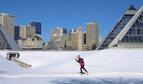 Cross-country skiing in Edmonton Alberta.