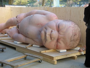 Rob Mueck's Big Baby, 1996, is gigantic and slightly horrifying.