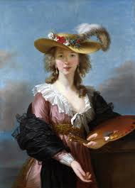 Elisabeth Vigee-Lebrun, Self-Portrait in Straw Hat, 1782. Hand as phallic attribute.