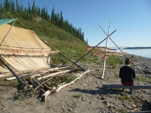 Crystal 2011: Contemplation and soul searching at my family's fish camp, Diighe'tr'aajil, on the Mackenzie River (Nagwichoonjik). Photo credit: Itai Katz.