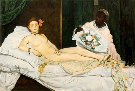 Manet, Olympia, 1863. Because this woman looked back to acknowledge the viewer while brazenly placing herself on display, she was considered hideous and monstrous by many during the nineteenth century.